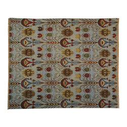 1800-Get-A-Rug - Sky Blue Ikat Hand Woven Flat Weave Sh13107 - About Wool Pile