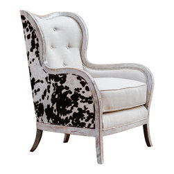 "Uttermost - Uttermost Chalina High Back Armchair - Chalina High Back Armchair by Uttermost Curvy, Exposed Wood Frame Is Solid Hardwood In An Aged, Bone-white Finish, Separating The Dark Chocolate And Milky White Velvet Outer Surround From The Soft, Neutral Linen Box Cushion And Tufted Inside Back. Seat Height Is 20""."