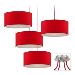 "Possini Euro Design - Red Drum Brushed Nickel 4-Light Multi Light Pendant - Our multi swag chandeliers let you add designer lighting to any room. The special swag canopy installs into any ceiling junction box just like a normal ceiling light or chandelier. Install standoffs in the ceiling and swag the cord lines to the canopy; adjust the hanging length as desired. With the hanging options you can get the exact look and light placement you need. This version has a brushed nickel finish 4 swag canopy. It features four eye-catching red shade pendants from the Possini Euro Design lighting collection. Takes four 40 watt bulbs (not included).Each pendant is 15 3/4"" wide. 12-foot cord on each. Canopy is 9"" wide.  Multi swag chandelier.  With special canopy adaptor.  Installs into any ceiling junction box.  Includes ceiling anchors.  With four standoff ceiling mounts.  Brushed nickel finish canopy.  Red shade pendants with bottom diffuser.  12-foot cord on each.  A large chandelier ideal for oversized rooms.  Takes four 40 watt bulbs (not included).  Each pendant is 15 3/4"" wide.  Canopy is 6"" wide."