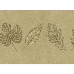 Stencil Ease - Leaves Border Stencil - Leaves Border Home Decor Stencil Contains: 1 - 6 x 18 stencil sheet Actual size: 17 in. wide x 5.5 in. high This design was painted using the following Spill Proof Colors: MSP01035 Mexican SandMSP01103 Metallic BronzeComplete kit comes with stencil paints 1 TT10068 double ended stencil brush and 1 ASR0001 can of Repositionable Stencil Adhesive Spray .