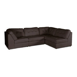 Baxton Studio - Warren Brown Leather Modern Modular Sectional Sofa Set - The merits of this Warren Modern Sectional are threefold: a modular design,supple cushioning,and easy-to-clean white bonded leather. Each piece included with this set can be repositioned as desired and may even be used in different parts of the room.