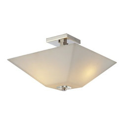 "Z-Lite - Z-Lite 607SF Zen 2 Light Chrome 9.75"" Semi-Flush Ceiling Fixture with Cream Glas - Features:"