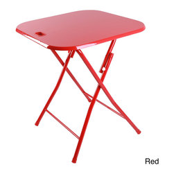 Atlantic - Metal Folding Table with Handle - Ideal for entertaining, this convenient folding table can also be used to aid in food preparation or displaying goods for sale. With a built in handle for easy carrying, this folding table is available in red or white and features plastic-capped feet.