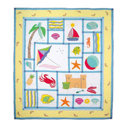 Patch Quilts - Summer Fun Quilt Twin 65 x 85 Inch - Intricately appliqued and beautifully hand quilted  - Bedding ensemble from Patch Magic,  the name for the finest quality quilts and accessories  - Machine washable  - Line or Flat dry only Patch Quilts - QTSFUN