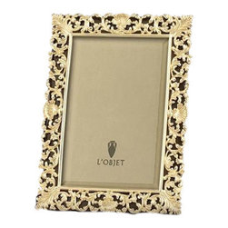 """L'Objet - L'Objet Gold Antique Frame 8x10 - L'Objet is best known for using ancient design techniques to create timeless, yetdecidedly modern serveware, dishes, home decor and gifts. 14k Gold Plated Photo Frame Beveled Glass Wrapped in Genuine Leather Stands Horizontally or Vertically Choose 4"""" Round, 4x6, 5x7, 8x10 Size Luxuriously Gift Boxed Each frame is meticulously handcrafted and detailed with beveled glass, satin liner, leather back, and decorative closures."""
