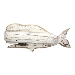 Zeckos - Distressed Wooden White Whale Wall Decor - This wonderful wall hanging complements beach and nautical decor, beautifully It features a white whale made of layers of wooden pieces, then painted and sanded for a shabby chic effect. It measures 29 inches long, 11 1/2 inches tall, 1 3/4 inches deep, and easily mounts to the wall by the picture hangers on the back. This piece looks great in bathrooms, bedrooms, on patios and porches, or in restaurants and bars, and it makes a great gift for a friend.