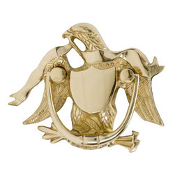 Eagle Door Knocker - Show your patriotism by gracing your door with this American Eagle Door Knocker. Its intricate details and durable brass construction make this door knocker a unique and elegant addition to your home. Furnished with mounting screws that install from the back of the door.