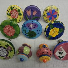 "8 2"" Ceramic Multi Colored Drawer Pulls + 2 smaller"