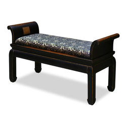 China Furniture and Arts - Elmwood Zhou Yi Bench - Firmly mounted with Chinese silk upholstery, our Zhou Yi bench is perfect for foyer or hallway. Passages from I Ching, the ancient Book of Change of Taoism, are carved in Chinese calligraphy on elegantly curved sides. A beautiful work of art aside from its practical ends.