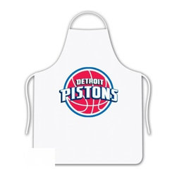 Sports Coverage - NBA Detroit Pistons Tailgate Apron - Show your NBA team spirit with this screen printed Detroit Pistons Tailgate Apron from Sports Coverage Inc! Keep yourself clean while supporting your team with this Apron. The 100% cotton twill apron is boldly emblazoned with the team logo.     Features:  -  100% cotton ,   -  One size fits most,   -  Team logo in the center,   -  Screen printed logo.,