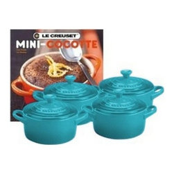Le Creuset - Le Creuset Stoneware 4-Piece Mini Round Casserole Gift Set with Cookbook - Whether used to serve single portions of a side dish or to decorate empty kitchen shelves, the stoneware Mini Cocotte adds attractive color and classic Le Creuset style to the kitchen or the table. Its durable stoneware construction allows it to go directly from the oven to the table. It can even store leftovers in the freezer or refrigerator if needed.
