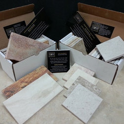 Authentic Durango Stone™ Tile Sample Boxes - Our sample boxes allow you to experience the Authentic Durango Stone™ difference in a way no photo could ever do. Order the 4x4 or 4x8 box  today for your showroom or design library for access to all of our colors and finishes.