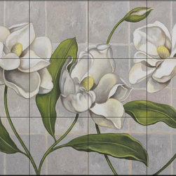 The Tile Mural Store (USA) - Tile Mural - White Magnolia - Jz - Kitchen Backsplash Ideas - This beautiful artwork by John Zaccheo has been digitally reproduced for tiles and depicts a beautiful magnolia bloom.  With our enormous selection of tile murals of plants and flowers you can bring your kitchen backsplash tile project to life. A decorative tile mural with plants and flowers is an impressive kitchen backsplash idea and decorative flower tiles also work great in the bathroom. Add splashes of color and life to your tile project with images of flowers on tiles and tiles with pictures of plants.