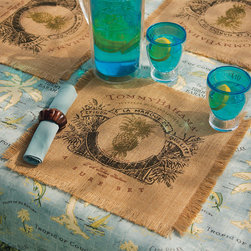 Frontgate - Set of Four Tommy Bahama Ocean Cruise Indoor/Outdoor Placemats - Made from all-natural burlap. Fringe around all four edges adds a measure of tropical flair. Clean with a damp cloth. Imported. Our Tommy Bahama Ocean Cruise Placemats are made from durable, all-natural burlap and imprinted with an intricate, island-inspired design that adds a touch of paradise to any tabletop. . . . .