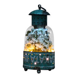 The Firefly Garden - The Firefly Lantern - Illuminated Floral Design, Large - Turquoise - This unique lantern is made from a reclaimed steel drum, filled with Lilac and illuminated underneath giving the appearance of fireflies in the summer evening. This rustic piece makes a charming home accent that's perfect for an outdoor gathering with friends and family. This arrangement comes with a lithium coin 3V battery.