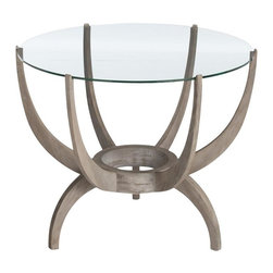 Arteriors - Oswald End Table, Oak - Sometimes it's the fireplace. Sometimes it's the TV or the view. The focal point of your room may just become this sculptural modern end table. Six walnut arms curve up to cradle the round glass top while three legs curve down to elevate it from the ordinary — and add gawk-worthy style to your space.