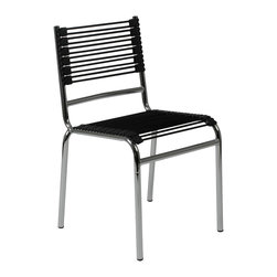 Eurostyle - Bungie-S Stacking Chair (Set Of 4)-Blk/Chrm - Chromed steel frame
