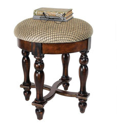 """EttansPalace - 17.5"""" Hand-crafted Solid Hardwood European-style Antique Replica Stool - Hand-crafted solid hardwood antique replica ; Rising from hand-turned legs to a perfectly cushioned, soft brushed chenille upholstered seat, this solid hardwood stool is ideal bedside, in a luxury bath, or at a ladies vanity. This versatile, dark walnut-hued work of European-style furniture art is a refined, yet practical addition to home decor."""