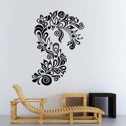 ColorfulHall Co., LTD - Flower Wall Decals Art Music Note with Flower Leaves Vine - Flower Wall Decals Art Music Note with Flower Leaves Vine