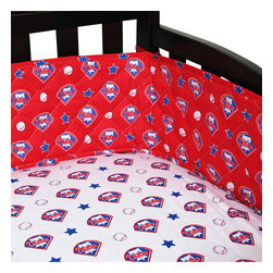 Sports Coverage Inc - MLB Philadelphia Phillies Crib Bumper Baseball Baby Bedding - Features: