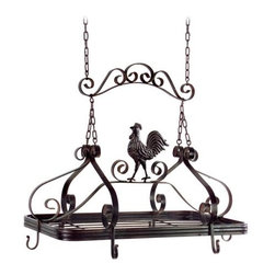 Rooster Hanging Kitchen Pot Rack - A rooster kitchen pot rack — what a neat idea! I like the rooster a lot. Not too themed, but just enough.