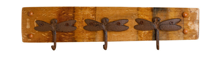 Alpine Wine Design - Dragonfly Key Rack - The key to a well-run household is finding hardworking pieces like this that serve double-duty. Not only will it keep your keys from getting lost under a pile of papers, it's also sturdy enough to use as a coatrack. Variations in wood grain, stain and aged patina gives each piece one-of-a-kind character.