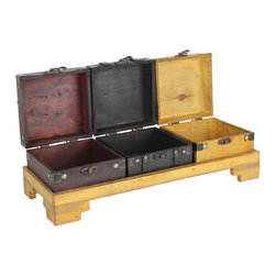 Three Colored Wooden Treasure Chests on Tray - The impressive intricate work on these three boxes will add a graceful elegance to your home decor. Each individual box with lids will create a spectacular accent piece. Great piece to store your potatoes, onions and avocado.