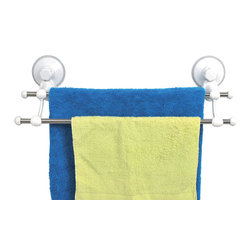 Towel Stand 2 Bars on Strong Suction Cups Pp White - This towel stand is made of durable polypropylene and provides adequate storage for any towel. It features two stainless steel bars to keep the towels off the floor and neatly organized. It has two extremely strong suction cups to secure adhesion to bath tiles. Simply turn the suction cup buttons and hold firmly to your shower wall without any drilling, tools, or damage to your walls. Length of 20.5-Inch, depth of 5.9-Inch and height of 5.9-Inch. No drills. Wipe clean with soapy water. Color white. Easily organize and dry your bath towels with this towel stand! Complete your decoration with other products of the same collection. Imported.