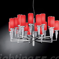 Axo - Subzero 20+1 suspension light - The Subzero 20+1 suspension light / chandelier collection has a Bohemian crystal diffuser with a lampshade in a color choice of white, chrome, red or vanilla with a chrome-plated structure.