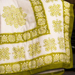 Attiser - Green Quilt - Sage Midori Handmade Quilt from Attiser - Sage Midori block print adorns the façade of this handsome quilt, a serene green on white at its center. Hand Block Printed from Attiser