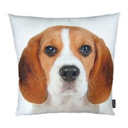 Beagle 18X18 Decorative Pillow (Indoor/Outdoor) - 100% polyester cover and fill.  Suitable for use indoors or out.  Made in USA.  Spot Clean only