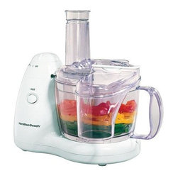 Hamilton Beach - Hamilton Beach - 8-Cup 2-Speed Food Processor - In-bowl blade storage. Space-saving design. Wide 8-cup bowl for easy pouring and stirring. 2 speeds plus pulse. Dishwasher safe. TrueSharp blades. 350 watts 120V/AC only