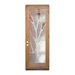 Sans Soucie Art Glass (door frame material T.M. Cobb) - Glass Front Entry Door Sans Soucie Art Glass Branches 2D - Sans Soucie Art Glass Front Door with Sandblast Etched Glass Design. Get the privacy you need without blocking light, thru beautiful works of etched glass art by Sans Soucie!This glass is semi-private. Door material will be unfinished, ready for paint or stain.Bronze Sill, Sweep and Hinges. Available in other finishes, sizes, swing directions and door materials.Dual Pane Tempered Safety Glass.Cleaning is the same as regular clear glass. Use glass cleaner and a soft cloth.