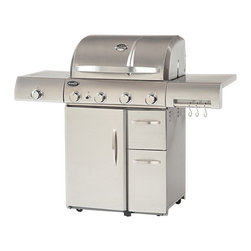 Aussie - Aussie Stainless Steel 4 Burner Gas Grill with Side Burner Multicolor - 6480 - Shop for Grills from Hayneedle.com! The Aussie Stainless Steel 4 Burner Gas Grill with Side Burner offers outstanding heat control for more delicious grilling results including a porcelain-coated flavor activator that s specially designed for better taste and aroma distribution. The 60000 BTU main grill is complemented by a 10000 BTU side grill allowing you to give sizzling burgers and scrumptious side dishes their own particular temperature control with an included heat thermometer for monitoring grilling conditions. The 700+ square inches of cooking space is supported by enclosed door and drawer storage in the wheeled base plus a towel rack and accessory hooks for keeping utensils clean and close at hand.