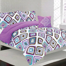 Bed In A Bag - Girls Kids Bedding- Santana Purple Comforter Set - Perfect for teens and tweens alike, this Santana comforter features a white background with a modern diamond shape design. This set will make your child's room fun and funky. 100% polyester/ Machine Washable