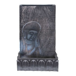Benzara - Durable Cement Buddha Fountain with Intricate Detail Work - Durable Cement Buddha Fountain with Intricate Detail Work. Crafted with fine attention to detail, this Buddha fountain includes intricate detail work and beautiful styling to give it a more appealing look. Some assembly may be required.