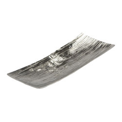 "Lazy Susan - Aluminum Bark Tray - This stylish tray has a contemporary flair. Measures 10.25""x8""x2.75""."