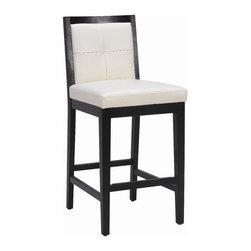 """Sunpan Modern - Paxton Bonded Leather Stool - Features: -Paxton collection. -Finish: Matte black. -Material: Bonded leather. -Frame: Solid wood. -Single tuft. -Transitional and contemporary. -Great for restaurant and contract applications. -Metal plate on the footrest reduces wear and tear. -Seat height: 26"""". -Please note that although every attempt has been made to ensure accuracy, all dimensions are approximate and colors may vary. -This item is deemed acceptable for both residential and nonresidential environments such as restaurants, hotels, lounges, offices and reception areas. Please note that this item carries the manufacturer's standard ONE YEAR WARRANTY from the date of purchase. Please contact Wayfair customer service or sales representatives for further information.  Dimensions:  -Counter: 38""""H x 17.5""""W x 21""""D. -Bar: 42""""H x 17.5""""W x 21""""D."""