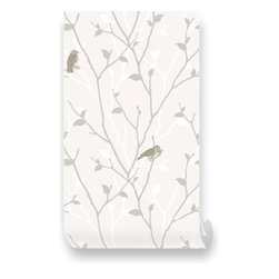 Pink & Blue Baby - Branch and Birds Beige PEEL & STICK Repositionable Fabric Wallpaper - Branch and Birds Beige Peel & Stick Fabric WallPaper has adhesive back with re-positionable and removable. It also can be re-applied over and over and adhesive does not weaken or strengthen over time. All our Premium Fabric WallPapers are Eco-friendly and non toxic.