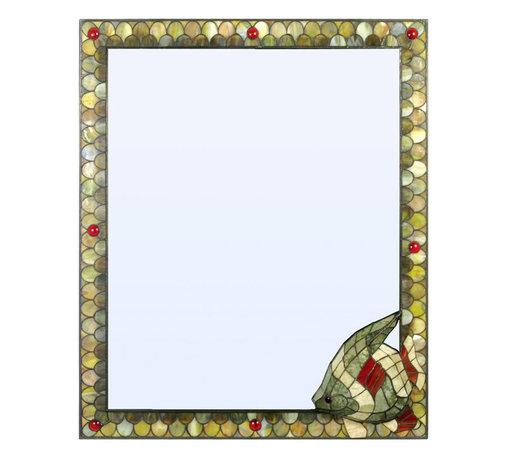 "Meyda Lighting - Meyda Lighting 17407 30""W X 36""H Jadestone Angel Fish Custom Framed Wall Mirror - Meyda Lighting 17407 30""W X 36""H Jadestone Angel Fish Custom Framed Wall Mirror"