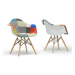 IMPORT LIGHTING & FUNITURE - Eiffel Arm Chair ( Set of 2), Patchwork, Wood Base - The classic plastic Arm chair remains popular today for cafeterias, home offices, and dining areas. A clean, simple form sculpted to fit the body. Shells are recyclable polypropylene. The shell is dyed throughout so colors remain vibrant even after years of hard use. For extended comfort, the shell is connected to the base by rubber shock mounts.