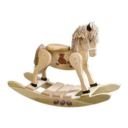 Fifthroom - Wooden Teddy Bear Painted Rocking Horse - What's better than teddy bears and rocking horses?  Our Teddy Bear Painted Rocking Horse is hand-crafted of sturdy poplar. Made to endure hours of trail blazing, your child will love rocking into the sunset.