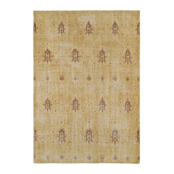 Kaleen - Contemporary Restoration 8'x10' Rectangle Gold Area Rug - The Restoration area rug Collection offers an affordable assortment of Contemporary stylings. Restoration features a blend of natural Gold color. Hand Knotted of 100% Wool the Restoration Collection is an intriguing compliment to any decor.
