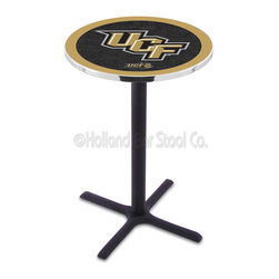 Holland Bar Stool - Holland Bar Stool L211 - Black Wrinkle Central Florida Pub Table - L211 - Black Wrinkle Central Florida Pub Table belongs to College Collection by Holland Bar Stool Made for the ultimate sports fan, impress your buddies with this knockout from Holland Bar Stool. This L211 Central Florida table with cross base provides a commercial quality piece to for your Man Cave. You can't find a higher quality logo table on the market. The plating grade steel used to build the frame ensures it will withstand the abuse of the rowdiest of friends for years to come. The structure is powder-coated black wrinkle to ensure a rich, sleek, long lasting finish. If you're finishing your bar or game room, do it right with a table from Holland Bar Stool. Pub Table (1)