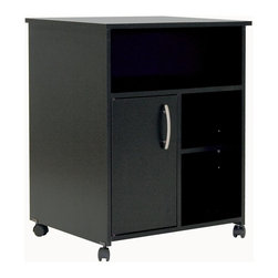 South Shore - Printer Stand Cabinet in Black - City Life Co - Manufactured from eco-friendly, EPP-compliant laminated particle boardcarrying the Forest Stewardship Council (FSC) certification. 3 Shelves. 1 Door. Assembly Required. 19.5 in. W x 23.5 in. D x 29.5 in. H Straight lines and a neutral pure black finish make the City Life collection ideal for coordinating with other furnishings. The finish richly emphasizes the collection's slim, chic silhouettes and coordinates easily with wide variety of interior designs. Clean lines and softened edges reveal a simple design, and the compact size of each piece allows a cozy fit in your studio apartment, loft or home office. Ample storage space in the furniture accommodates treasured display items, office necessities, books and other belongings while each piece occupies a small amount of living area, giving you room to breathe as well as the freedom of organized space.