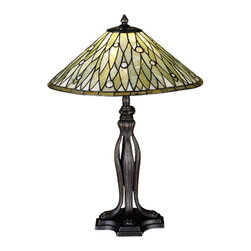 "Meyda - 24""H Jadestone Dew Drop Table Lamp - Thinly carved and polished natural jadestone inearthy tones of moss green, and ivory, becomeluminescent in this handsome leaf patterned shade withglass jewel accents. The stone shade is crafted withthe same copperfoil process that is used on stainedglass, tiffany style shades. A mahogany bronze finishedbase completes this elegant table lamp. Bulb type: med bulb quantity: 1 bulb wattage: 100"