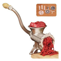 Weston - Deluxe Meat Grinder #10 - Weston #10 Manual Meat Grinder (Tinned). Know what is going into your food! Creating your own sausage, ground meat, ham salad and more is easy with Weston's Tinned Meat Grinders. Food Safe Tin Coating.  Durable Cranking Handle.  Heavy-duty nylon bearing for long life.  Secures to your table or countertop.  Easy to clean and assemble.  All Weston Tinned Meat Grinders include an 8-Piece Accessory Kit: 4.5mm Grinding Plate for medium grinding, 10mm Grinding Plate for coarse grinding, Grinding Knife, Set of three stuffing funnels: 20mm, 30mm and 40mm with easy attaching universal flange and stuffing star.