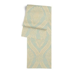 Aqua Medallion Trellis Custom Table Runner - Get ready to dine in style with your new Simple Table Runner. With clean rolled edges and hundreds of fabrics to choose from, it's the perfect centerpiece to the well set table. We love it in this large damask-like medallion in brown and beige linen: the perfect centerpiece for traditional design.