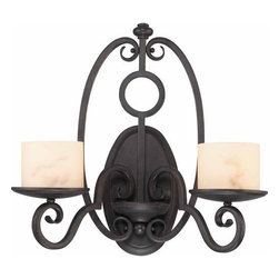Volume Lighting - Volume Lighting V2482 Vernon 2 Light Wall Sconce - Two Light Wall Sconce from the Vernon CollectionBold in a dark iron, this 2 light wall sconce features marble glass shades.Features: