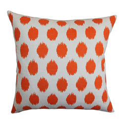The Pillow Collection - Kaintiba Orange 18 x 18 Patterned Throw Pillow - - Pillows have hidden zippers for easy removal and cleaning  - Reversible pillow with same fabric on both sides  - Comes standard with a 5/95 feather blend pillow insert  - All four sides have a clean knife-edge finish  - Pillow insert is 19 x 19 to ensure a tight and generous fit  - Cover and insert made in the USA  - Spot clean and Dry cleaning recommended  - Fill Material: 5/95 down feather blend The Pillow Collection - P18-PP-JOJO-TANGELO-C100
